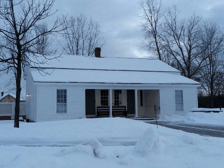 Exterior of the Friends Meeting House in Winter