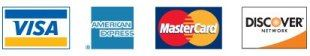 Visa, American Express, Mastercard, and Discover Cards